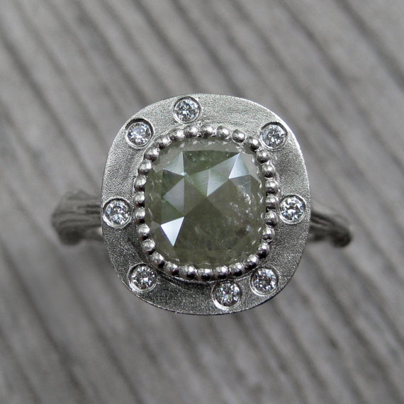green cushion diamond ring via 27 Amazing Anniversary Gifts by Year