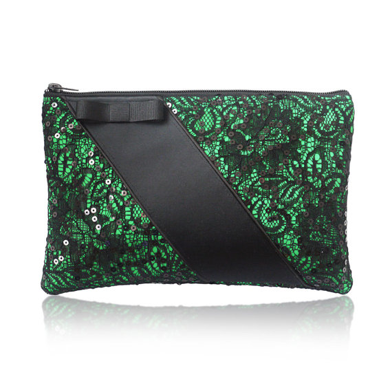 green lace wedding party bags holiday