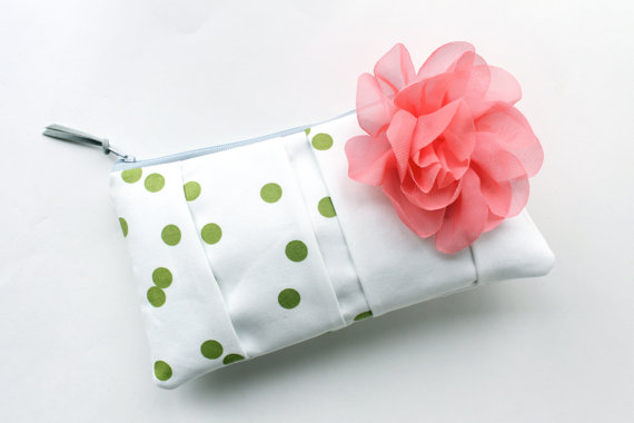 wedding clutch purses - green polka dot purse with pink flower (by allisa jacobs)