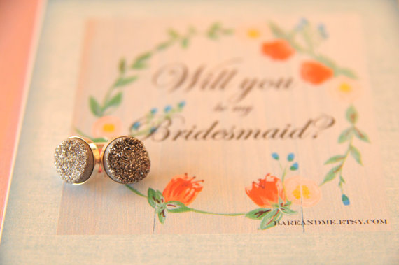 grey bridesmaid druzy jewelry earrings | druzy bridesmaid jewelry