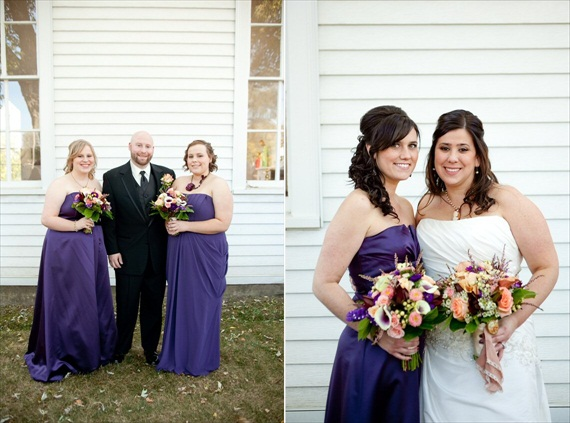Vintage Fall Wedding - groom and bridesmaids; bride with maid of honor
