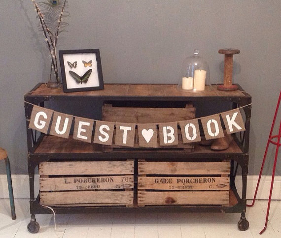 guest book sign with burlap