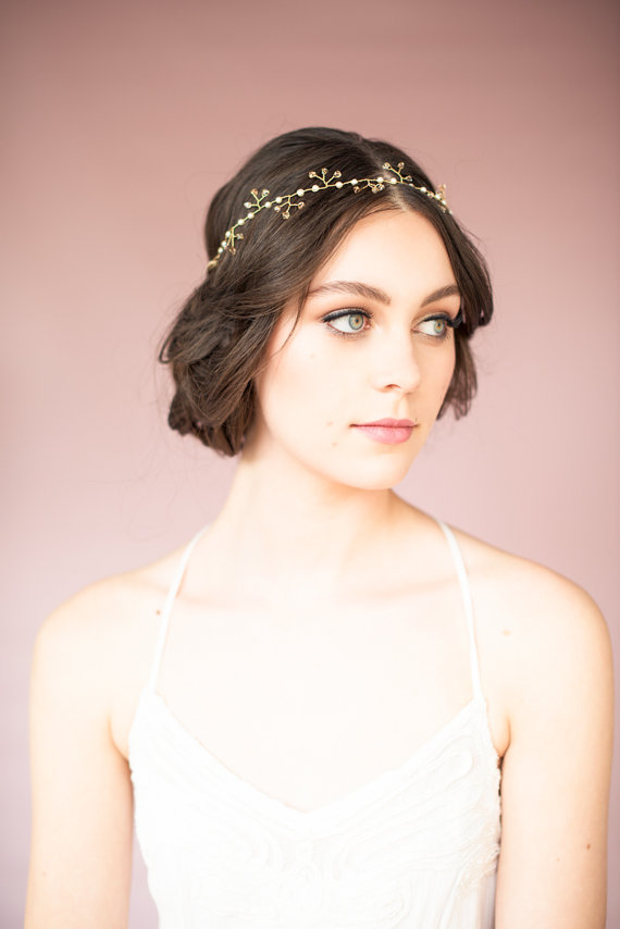 gold crown | Bridal Headband With Veil via http://emmalinebride.com/bride/bridal-headband-with-veil/