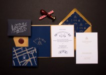 hand drawn secret society wedding invitation