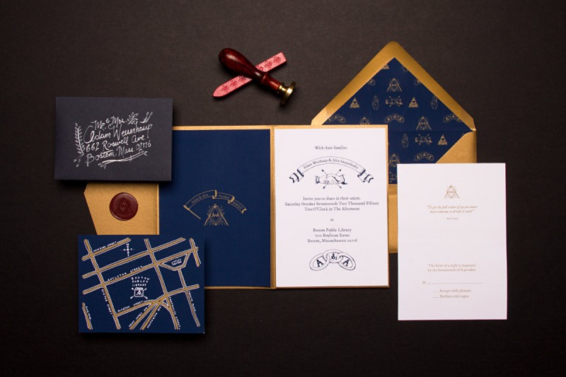 A Library Themed Wedding Invitation With A Secret Society Twist