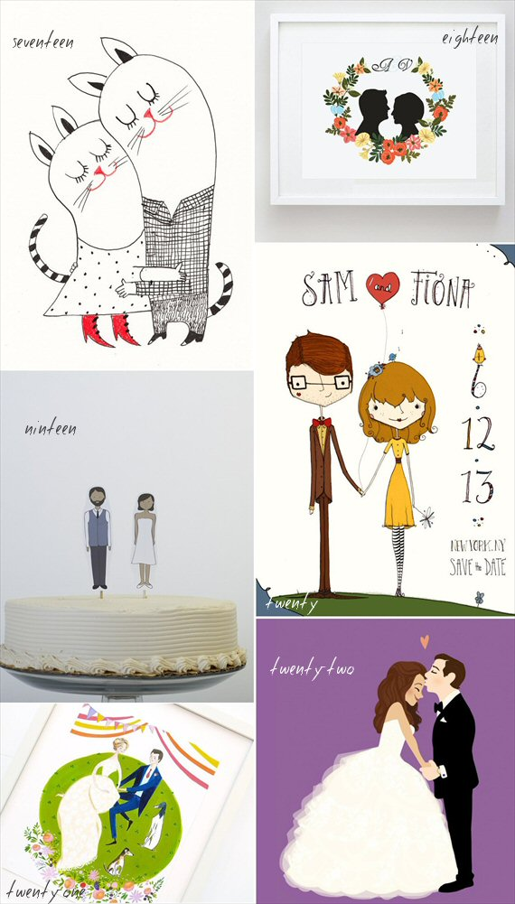 handmade wedding illustrations