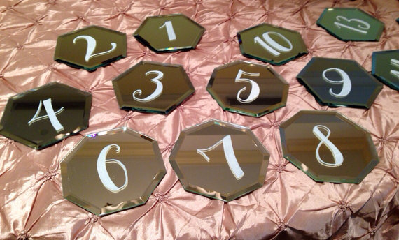 handpainted table number mirrors