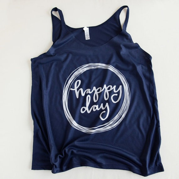 Happy Day Tank Top by Emily Steffen | Etsy Wedding Tank Tops http://emmalinebride.com/bride/etsy-wedding-tank-tops/