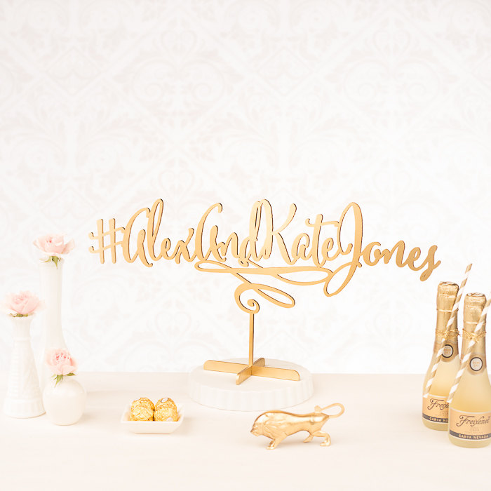 hashtag cake topper | statement cake toppers via http://emmalinebride.com/decor/statement-cake-toppers/