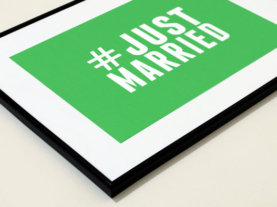 5 Ways to Embrace Social Media at Weddings - #justmarried print by everything hashtag