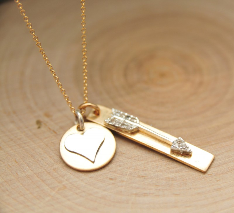 heart and arrow necklace by bare and me | via emmalinebride.com