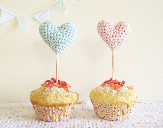 heart cake toppers by Cherry Time via Emmaline Bride