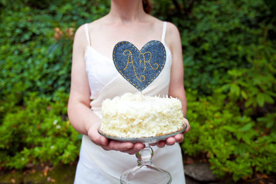 Heart Cake Topper by Wed and Roses (via The Marketplace at EmmalineBride.com)