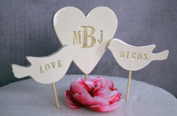 heart monogram cake topper