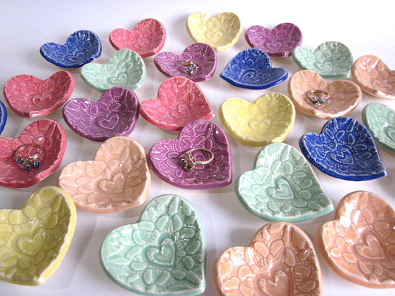 50 Best Bridal Shower Favor Ideas: heart ring dish favors (by darrielle's clay art)