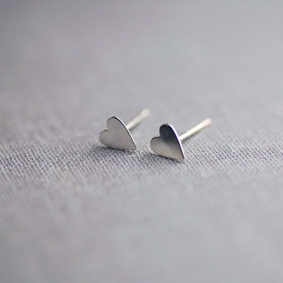 handcrafted jewelry (by lily emme jewelry) - heart stud earrings