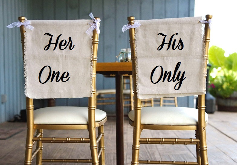 her one his only chair signs | via bride and groom chair signs http://emmalinebride.com/decor/bride-and-groom-chairs/