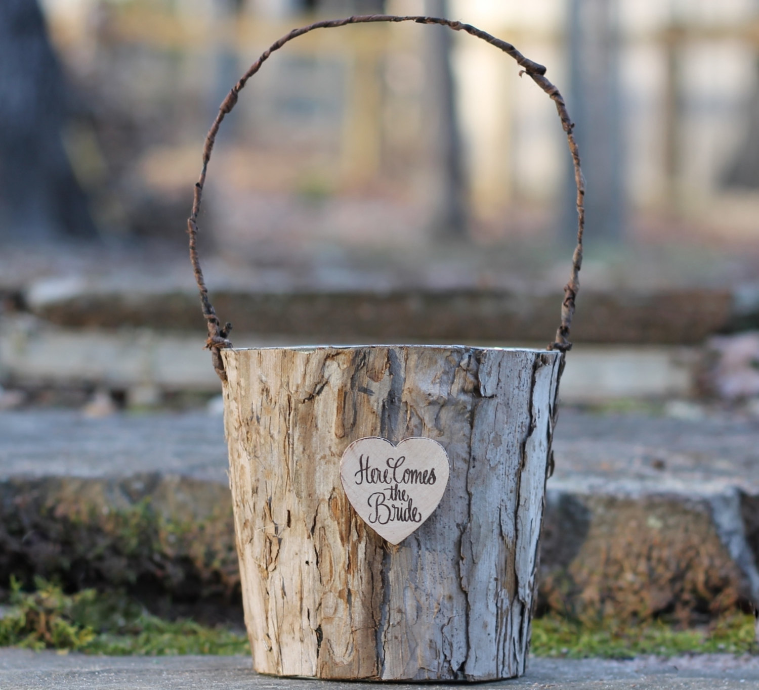 here comes the bride birch basket | Rustic Flower Girl Baskets