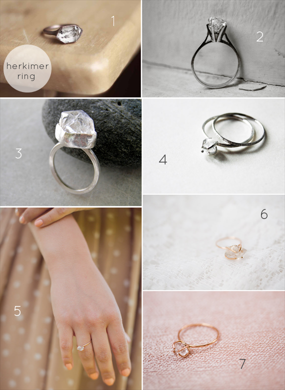 Alternative Engagement Ring Ideas:  Herkimer (via EmmmalineBride.com)