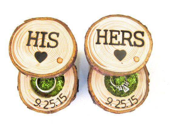 his and hers wood wedding ring box end grain wood shoppe