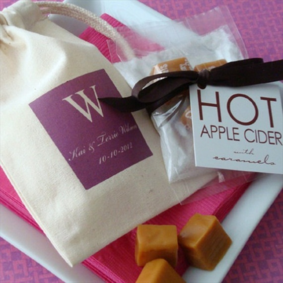 50 Best Bridal Shower Favor Ideas: hot apple cider favor bag (by favor bag lady)