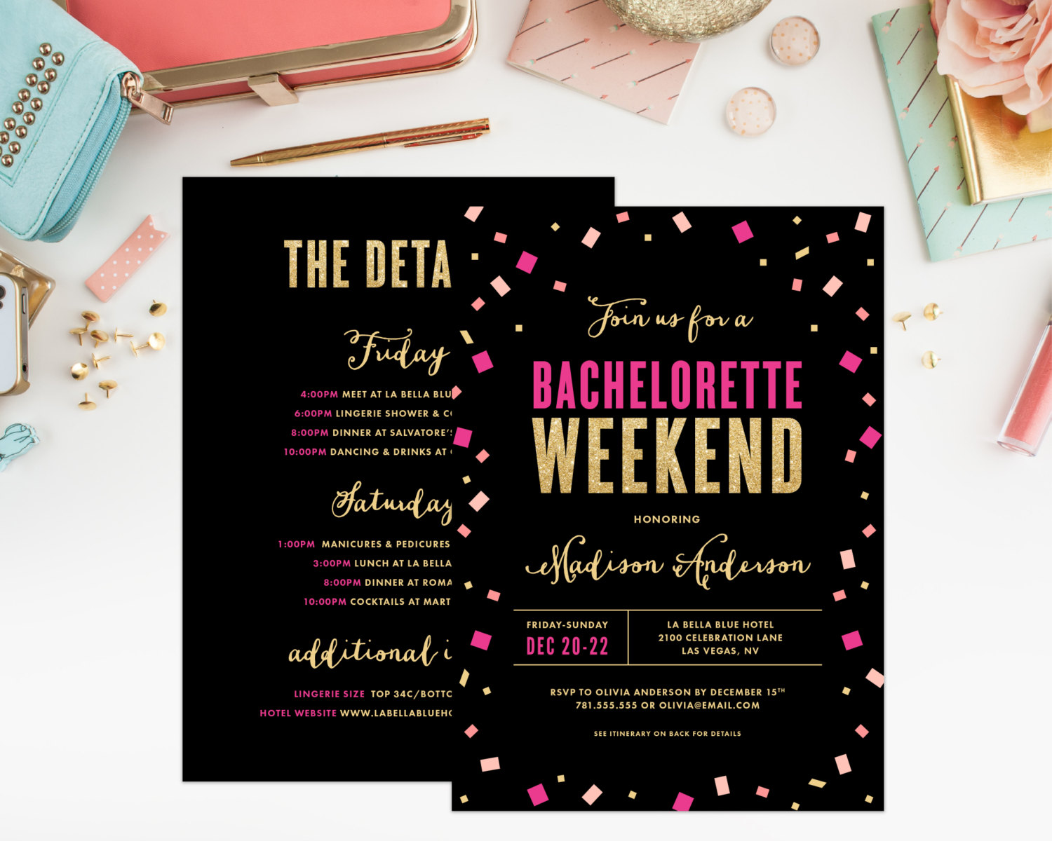 hot pink and black bachelorette party invitation by fine and dandy paperie | fun bachelorette party ideas | https://emmalinebride.com/planning/fun-bachelorette-party-ideas/
