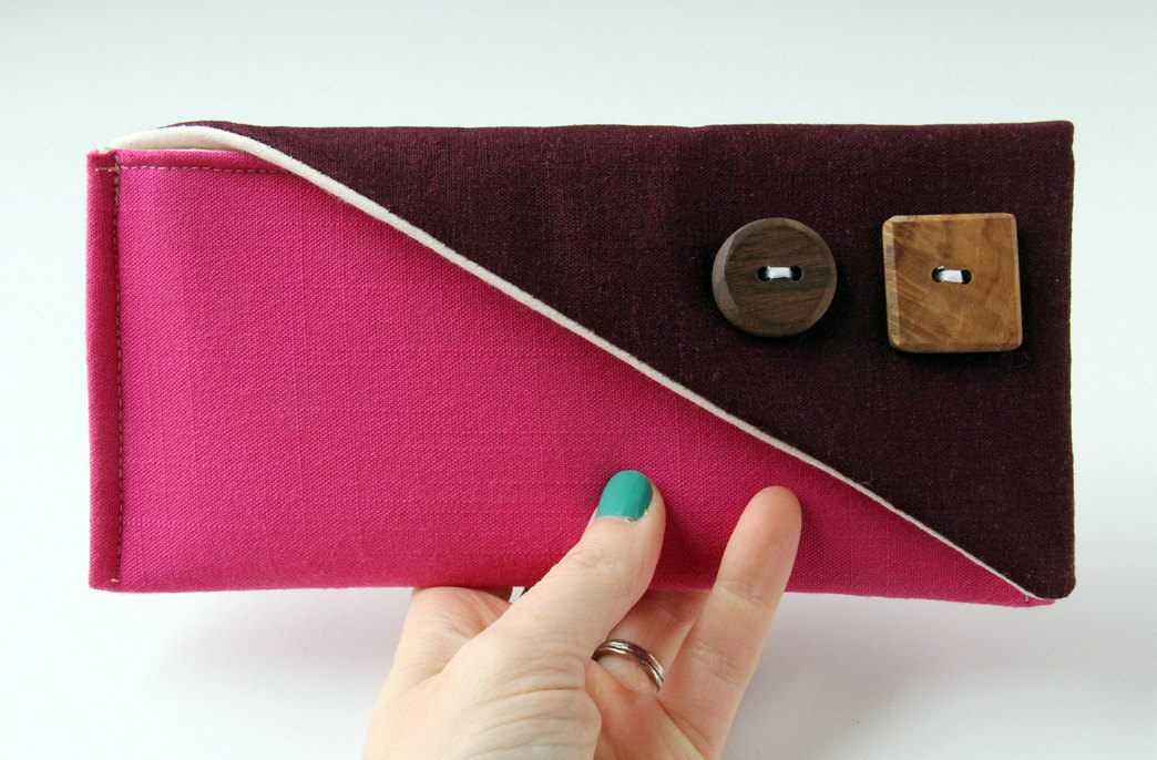hot pink color block fold over clutch purse