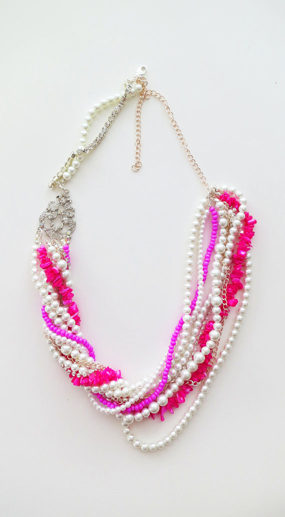 Pearl Necklaces - Hot Pink (by Sukran Kirtis)