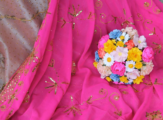 hot pink + colorful mix | wedding bouquets made of paper via emmalinebride.com