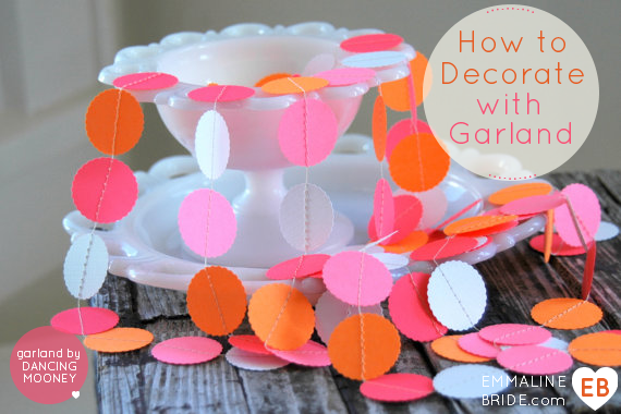 How to Decorate with Wedding Garland (garland by Dancing Mooney via EmmalineBride.com)