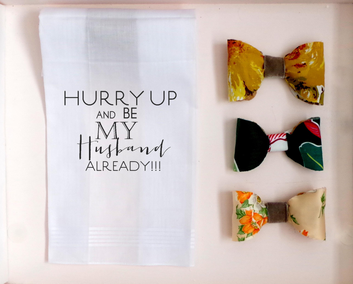 hurry up and be my husband already handkerchief | personalized wedding handkerchiefs | http://emmalinebride.com/gifts/personalized-wedding-handkerchiefs/