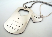 i carry your heart with me dog tag and necklace set