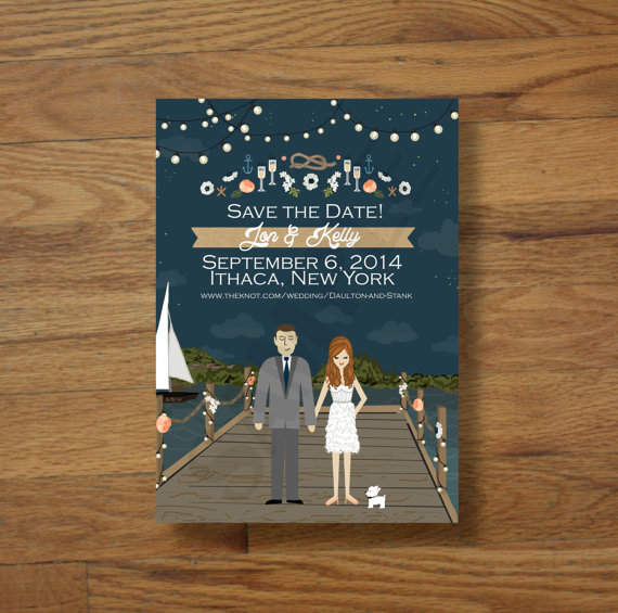 save the date cards with bride and groom standing on dock with cute little dog // illustrated save the dates