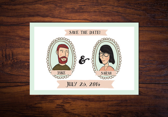 cute portrait illustrated save the dates