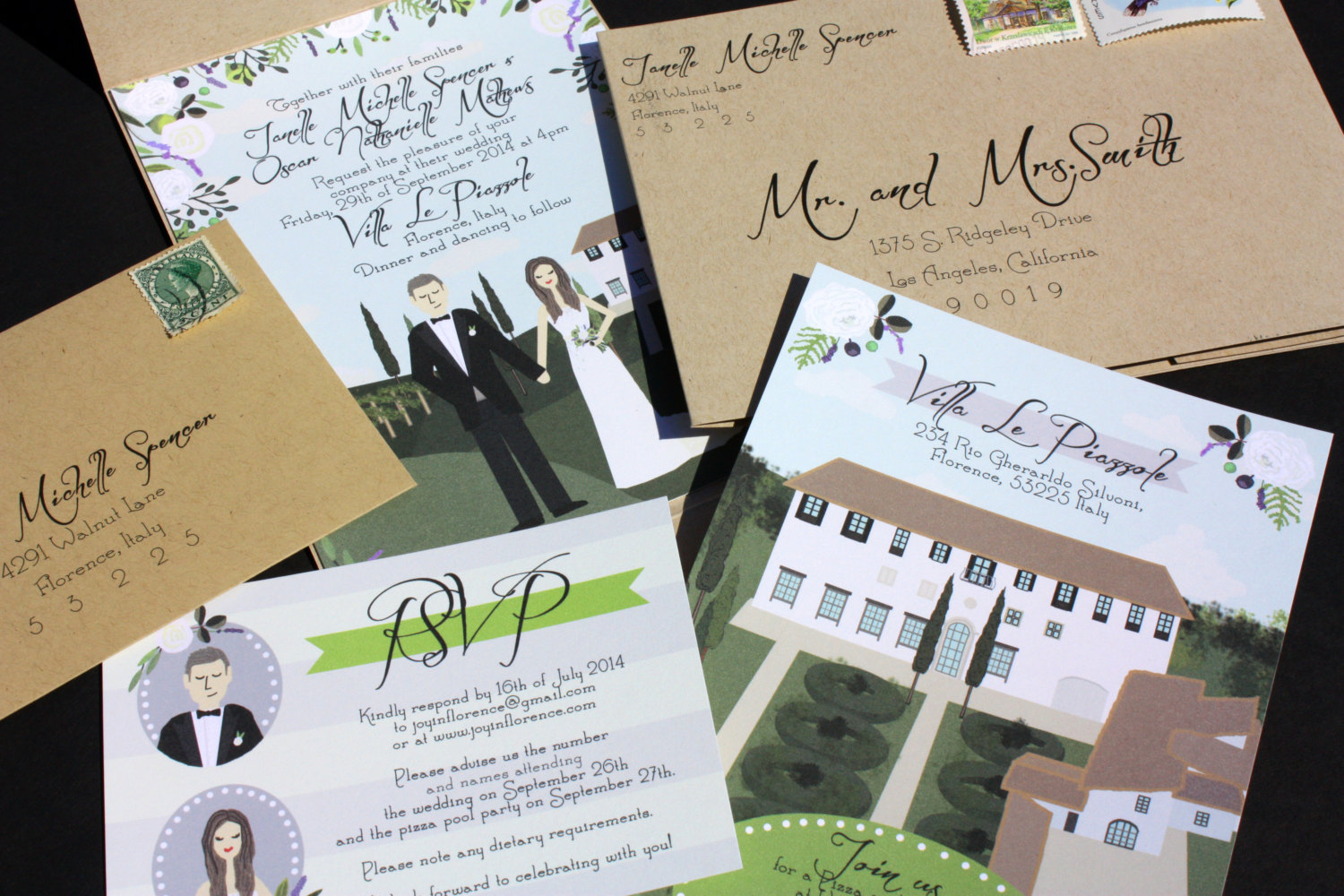 illustrated wedding invitations by chicks and hens | return address invitations