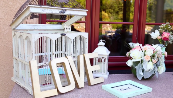 wedding love sign and card box