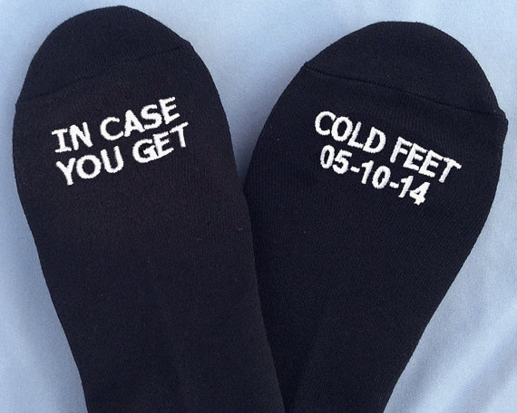 In Case You Get Cold Feet Socks | http://emmalinebride.com/groom/in-case-you-get-cold-feet-socks/