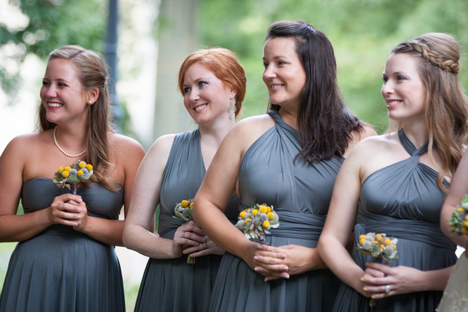 grey infinity dress | via http://emmalinebride.com/bridesmaids/bridesmaid-dress-worn-different-ways/