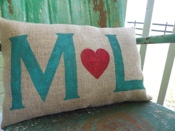 wedding gift ideas from a to z - pillow with initials by take flyte farm