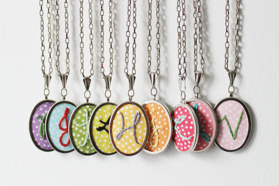 Embroidered initial necklaces by The Merriweather Council.  These initial necklaces make a great gift for bridesmaids!