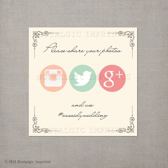 5 Ways to Embrace Social Media at Weddings - social media sign by nostalgic imprints