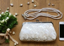ivory bridal lace purse
