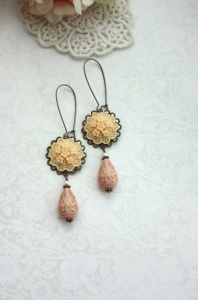 ivory and pink earrings - moroccan wedding jewelry