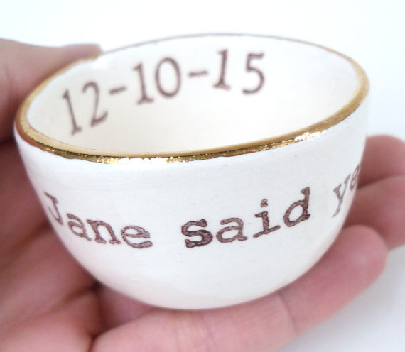 jane said yes ring dish with gold rim