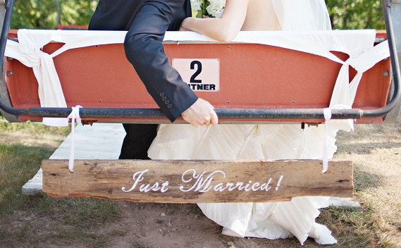 just married barn wood sign | via bride and groom chair signs http://emmalinebride.com/decor/bride-and-groom-chairs/