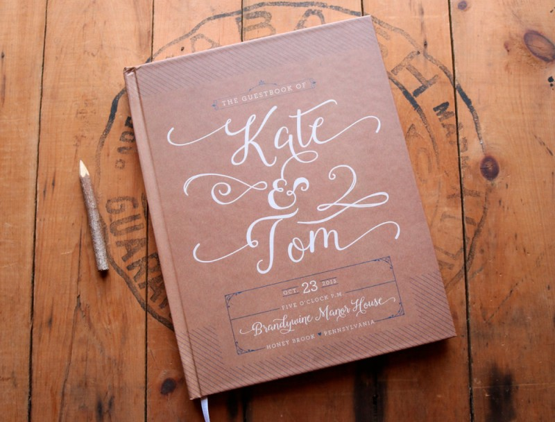 kraft brown and white guest book by paper street press