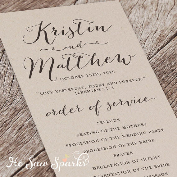 kraft paper ceremony program by he saw sparks