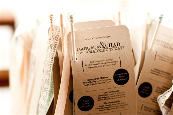 DIY Wedding Ideas: Kraft Paper Ceremony Programs (by Harmony Creative Studio), photo by Meghan Christine Photography