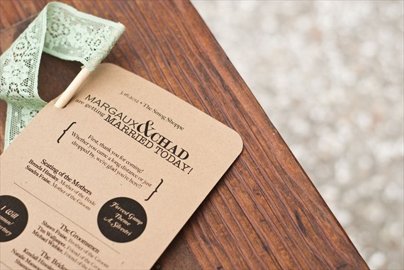DIY Wedding Ideas: Kraft Ceremony Programs (by Harmony Creative Studio), photo by Meghan Christine Photography