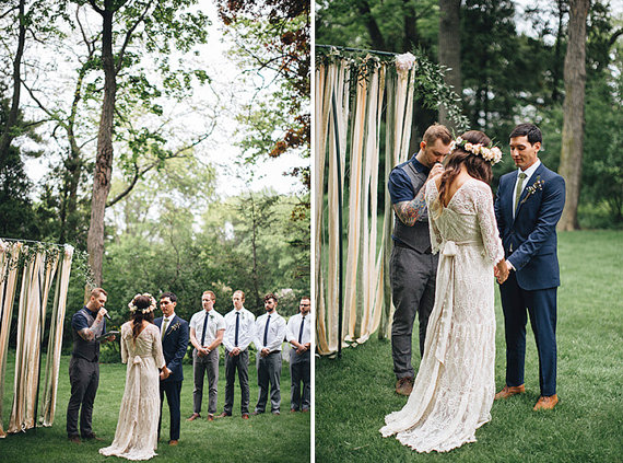 A stunning lace bohemian style wedding gown by Be My Bride   photo: jessica stoe   etsy boho weddings   https://emmalinebride.com/bohemian/etsy-boho-weddings/